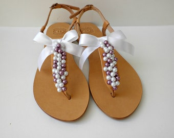 Wedding sandals- Greek leather sandals decorated mix white purple pearls and satin bow- Beach wedding -Bridal party- Bridesmaids sandals