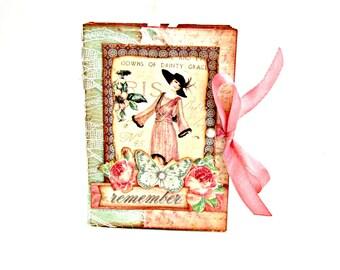 Retro mini album, Ladies diary album, Memories photo book, Scrapbook album, Premade mini album, Mothers day gift, Dusty pink handmade album
