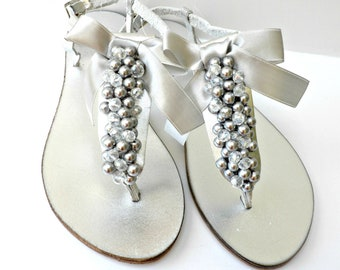 Silver Wedding sandals/ Bridal Silver pealrs crystal beads/ Greek leather sandals/ T strap leather sandals/ Bridal party/ Beach shoes
