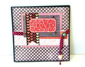 Love accordion mini album,Valentines day gift, Love photo book, Premade album, Red photo album, Memories album, Square 6x6, Ready to ship