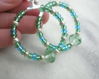 Green earrings-Blue hoop earrings - Summer earrings - Dangle hoop earrings - Hoop earrings - Beaded earrings - Spring earrings
