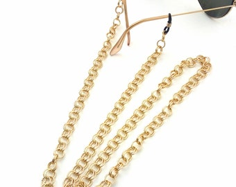 Sunglasses chain necklace, Gold glasses chain, Lanyard chain, Sunglass holder, Gold eyeglass necklace, reading glasses, Gold laces glasses
