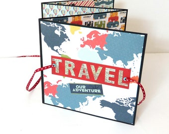 Travel accordion  mini album, Premade pages album, Blue square 6x6 mini album travel memories, Handmade mini album,Photo book, Unisex gift