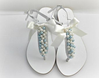 Wedding white Greek leather sandals, White sandals decorated with mix ivory and blue  pearls ivory satin bow, Bridals shoes,Beach wedding