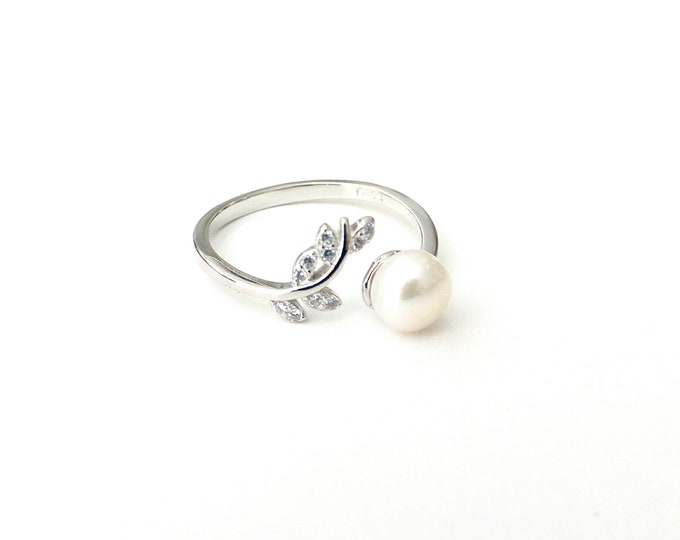 Featured listing image: Silver pearl ring, Engagement ring, Wedding pearl ring, Sterling silver ring, Anniversary ring, Adjustable ring, Silver 925 Open band ring