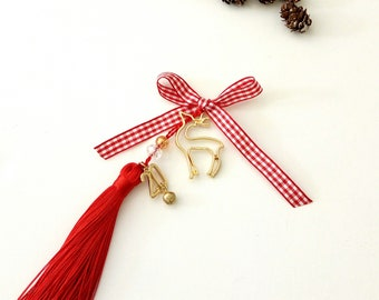 New year 2020 with gold reindeerand red tassel, Christmas ornament, Protection ornament 2020, Gold reindeer Handmade happy new year gift