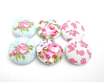 Floral fabric buttons - Covered buttons - Pink and blue buttons - Sewing fabric buttons -Size45 28mm - Flowers buttons -Rose fabric buttons