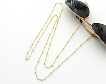 Sunglasses ball chain, Laces for sunglasses, Ball chain necklace, Reading glasses cord, Eyeglasses holder, Gold chain sunglasses necklace
