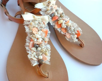 Leather sandals - Bridesmaid sandals - Summer flats -Sea shells beaded sandals -Beachwear shoes - Wedding sandals -Pink beaded sandals