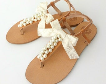 Wedding pearl sandals, Bridal ivory pearls sandals, Greek leather sandals with ivory pearls adn lace bow, Beach wedding shoes, Summer flats