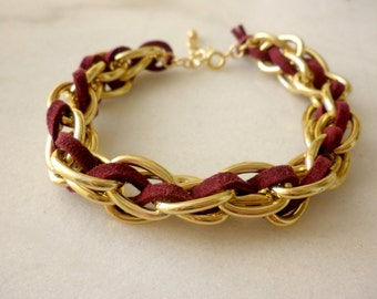 Gold chain bracelet -Gold chain wrapped bracelet- Red suede bracelet Two strand chain wrapped with suede cord -Red suede bracelet-Gold chain