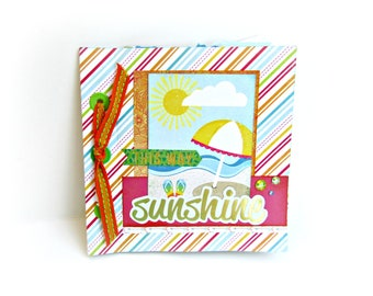 Summer mini album, Scrapbook mini album, Travel book, 6x6 mini album, Memories photo album, Premade scrapbook mini album, Photo album