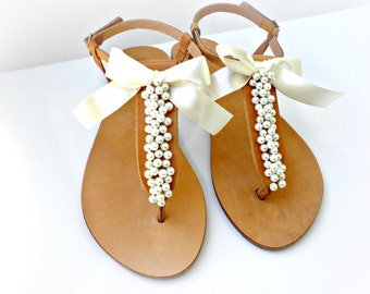 Wedding sandals/ Greek leather sandals decorated with ivory pearls and satin bow /Bridal party shoes/ Ivory women flats/ Bridesmaid sandals