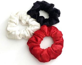 Black scrunchy, Red scrunchy, White velour scrunchy, Set of 3 scrunchies, Handmade velour scrunchies, Set 3 pack scrunchies, Gift for her