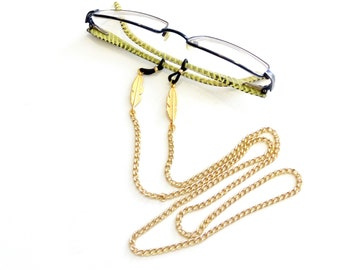 Sunglasses gold chain with feathers, Boho sunglasses chain, Eyeglass necklace, Sunglasses Holder Chain, Trendy Chain, Eyewear Holder Chain