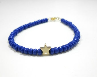 Tiny gold star blue beaded bracelet - Gold star beaded bracelet- Gold star bracelet - Blue beaded charm bracelet - Pink beaded star bracelet