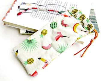 Εyeglasse fabric case, Glasses holder, Summer eyeglasse case, Reader glasses pouch, Sunglasses fabric case, Tropical case, Soft fabric case