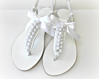 White wedding sandals with white pearls and bow, Pearl sandals, Beach wedding shoes, Bridal shoes, Bridesmaid flats, Bridal party shoes