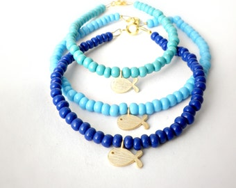 Tiny charm bracelets, Blue beaded bracelet, Dainty minimalist bracelet, Friendship bracelet, Delicate jewelry, Turquoise teal blue bracelet