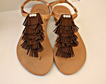 Boho fringe with rhinestones greek leather sandals, Summer flats, Brown fringe sandals,Decorated sandals, Beach shoes, Women summer shoes