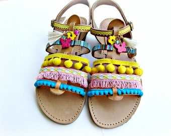 Pom pom decorated sandals/ Gladiator sandals/  Boho sandals/ Wedding sandals/ Spartan sandals/ Beach wedding/ Women summer shoes