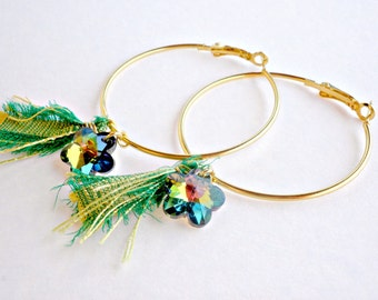 Gold hoop earrings Green flower hoop earrings Spring earrings Flower earrings Large earrings Gift for her Gold hoop green silk ribbon