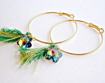 Gold hoop earrings- Spring earrings- Green crystal flower earrings - Large earrings -Gift for her -Gold hoop green silk ribbon
