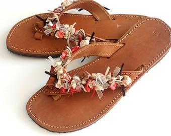 Greek leather sandals -Summer beaded sandals - Sea shells beachwear -Leather sandals -Red beaded sandals- Beach shoes - Natural flip flops -