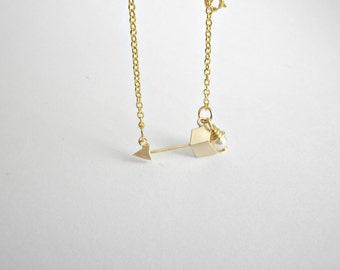 Gold arrow necklace -Delicate gold necklace - Sideways gold necklace - Minimalist jewelry - Layering necklace - Tiny gold charm necklace
