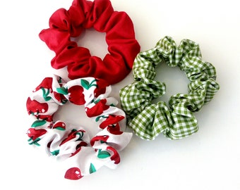 Red scrunchies, Green scrunchies, Retro hair ties accessories, Cherry scrunchies, Handmade scrunchies, Summer scrunchies, Gift for her