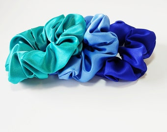 Blue satin scrunchies, Satin scrunchies, Hair accessories, Set 3 blue scrunchies, Light blue scrunchy, Gift for her, Hair ties