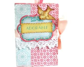 Baby Girl mini album, Pink mini album, Scarpbook album, Pink photo book, Premade album, Baby shower gift, Handmade album, Photo book