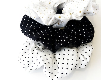 Set scrunchies Black and white polka dot scrunchies, Σετ λαστιχάκια για τα μαλλιά