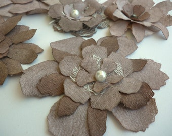 Brown fabric flowers - Flowers Embellishment - Fabric flowers -Antique beige flowers -Shabby chic flowers -Tattered - Wedding embellishment
