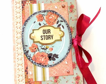 Vintage mini album, Scrapbook mini album, Shabby chic photo album, Memories photo book, Romantic mini album, Gift for her