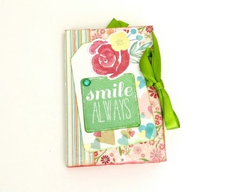 Scrapbook mini album Pink green mini Premade photo album Spring photo album Floral photo book Memories photo book Romantic mini album