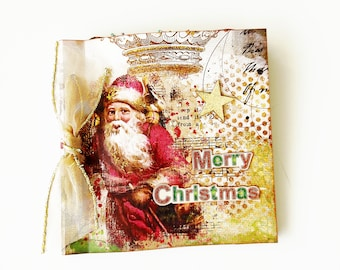 Vintage Christmas mini album, Christmas mini album, Premade pages, Photo book, Christmas gift, Ready to ship