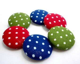 Polka dots buttons -Blue buttons - Sewing buttons - Green polka dots buttons - Red buttons -Fabric covered buttons - Size 45 28mm