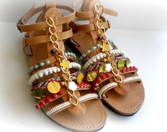 Pom pom sandals -Gladiator Greek leather sandals - Boho chic decorated sandals - Beach shoes - Spartan sandals - Women summer shoes