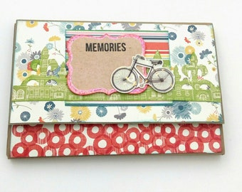Wallet mini album, Scrapbook mini album, Bicycle mini album Photo book, Acordion album, Memories photo album, Gift for her, Ready to ship
