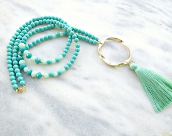 Long tassel necklace/ Green beaded necklace/ Long tassel necklace/ Summer beaded necklace/ Gift for her