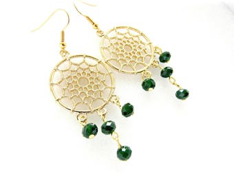 Dream catcher earrings / Gold earrings / Chandelier earrings / Gold and green earrings / Bohemian chic earrings / Gift for her
