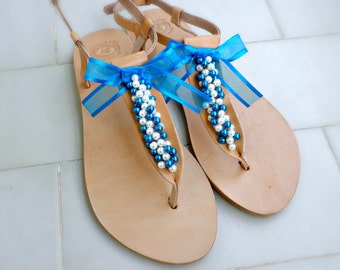 Wedding shoes- Bridal flats- Bridesmaids sandals- Blue white pearls decorated sandals - Beach wear -Something blue- Summer sandals