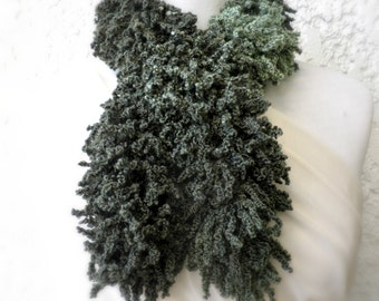 Sale! Green frilly scarf, Neckwarmer, Knitting curles scarf, Winter scraft, Green knitted scarf, Gift for her, Winter accessories