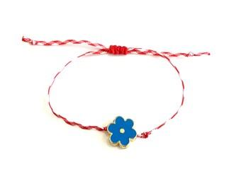 Βραχιόλι Μάρτης με μπλε λουλούδι