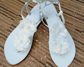 Wedding white sandals, Greek leather sandals, White decorated lace flowers sandals, Bridal shoes, Summer wedding shoes, Beach party sandals