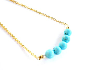 Turquoise necklace with gold plated chain - Dainty turquoise necklace  minimalist jewelry - Turquoise bar necklace -Summer layering necklace