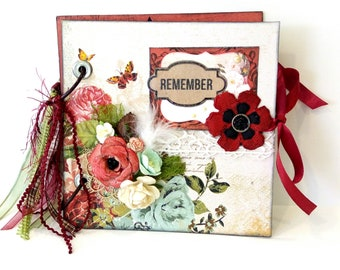 Scrapbook mini album, Romantic mini album, Square mini album, Photo album decorated with flowers, Anniversary gift, Ready to  ship