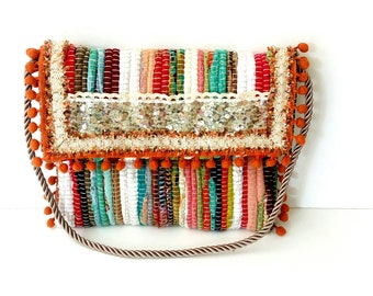 Greek kourelou bohemian bag, Envelope Colorful kilim bag, Greek rag rug bag, Handmade decorated bag, Summer bag, One of the kind bag