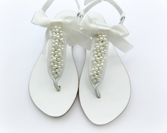 Wedding sandals/ White sandals decorated with ivory pearls/ Bridal pearls sandals/ Greek sandals/ Bridal shoes/Bridesmaid flats/Summer shoes